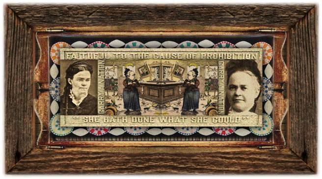 Carrie Amelia Moore(25 nov 1846 - 09 jun 1911   Garrard KY - Leavenworth KS) author, speaker, newsletter publisher, radical temperance activist, aka Carrie Nation and Carry A. Nation   women.born © susan.powers.bourne