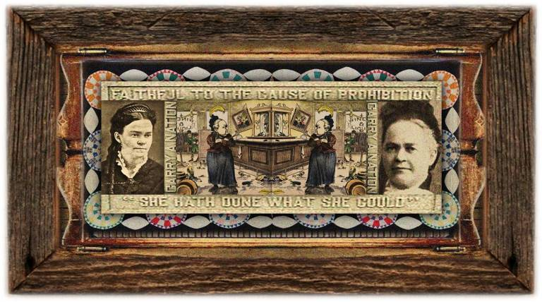 Carrie Amelia Moore(25 nov 1846 - 09 jun 1911 | Garrard KY - Leavenworth KS) author, speaker, newsletter publisher, radical temperance activist, aka Carrie Nation and Carry A. Nation | women.born © susan.powers.bourne