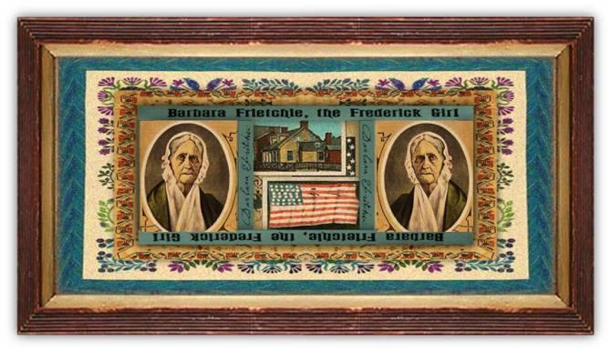 Barbara Hauer Fritchie (03 dec 1766 – 18 dec 1862   Lancaster PA - Frederick City MD) folk figure, American Civil War Union activist